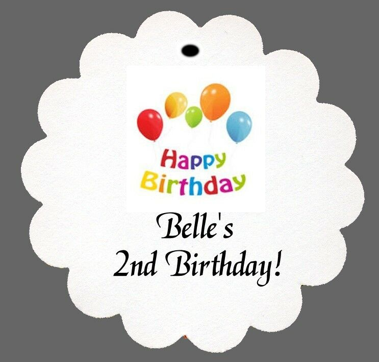 24 Personalized Happy Birthday Favor Scalloped Tags Party