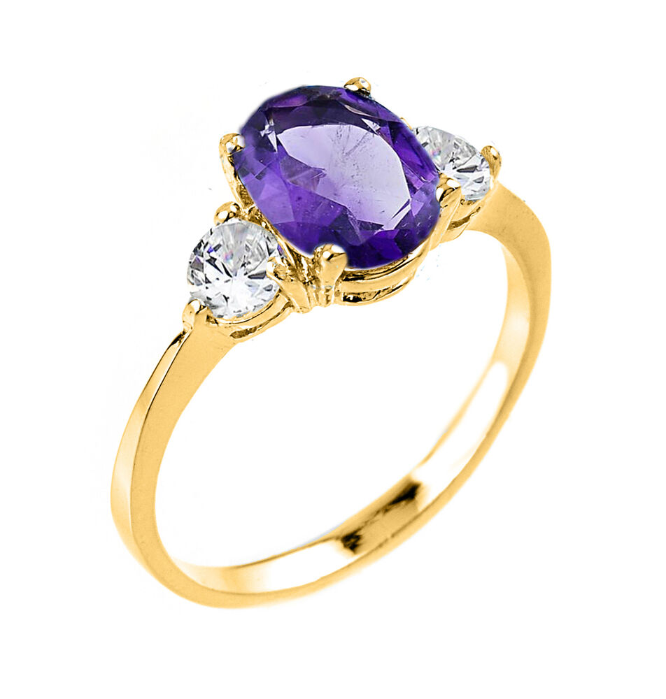 Ladies 10k Yellow Gold Amethyst February Birthstone 2.3mm ...