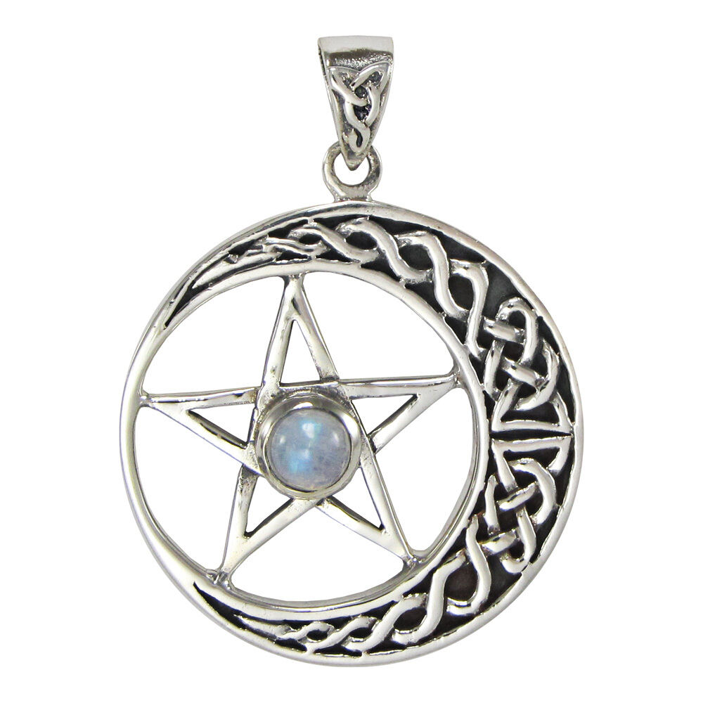 Large Celtic Crescent Moon Pentagram Pentacle Pendant ...
