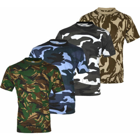img-E1 MENS MILITARY CAMOUFLAGE T SHIRT CAMO ARMY COMBAT NEW S-5XL