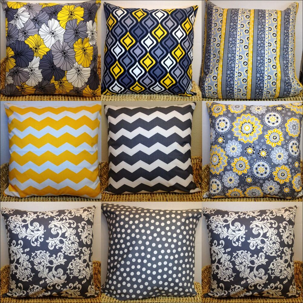 Gray And Yellow Designer Fabric Pillow Cases Covers 100