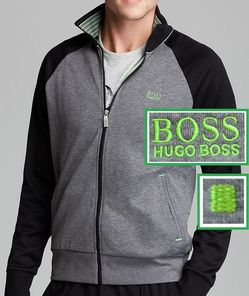 nwt hugo boss green label by hugo boss track jacket in gray black size s ebay. Black Bedroom Furniture Sets. Home Design Ideas