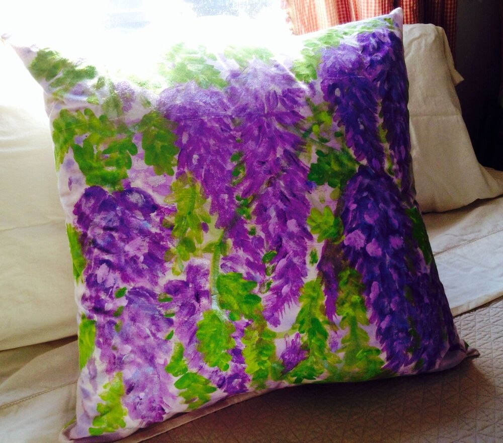 Hand painted throw pillow ebay for Hand painted pillows