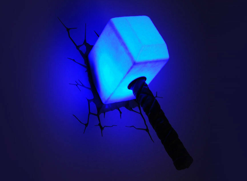 Marvel avengers thor hammer mjolnir 3d deco wall led for Room decor led lights