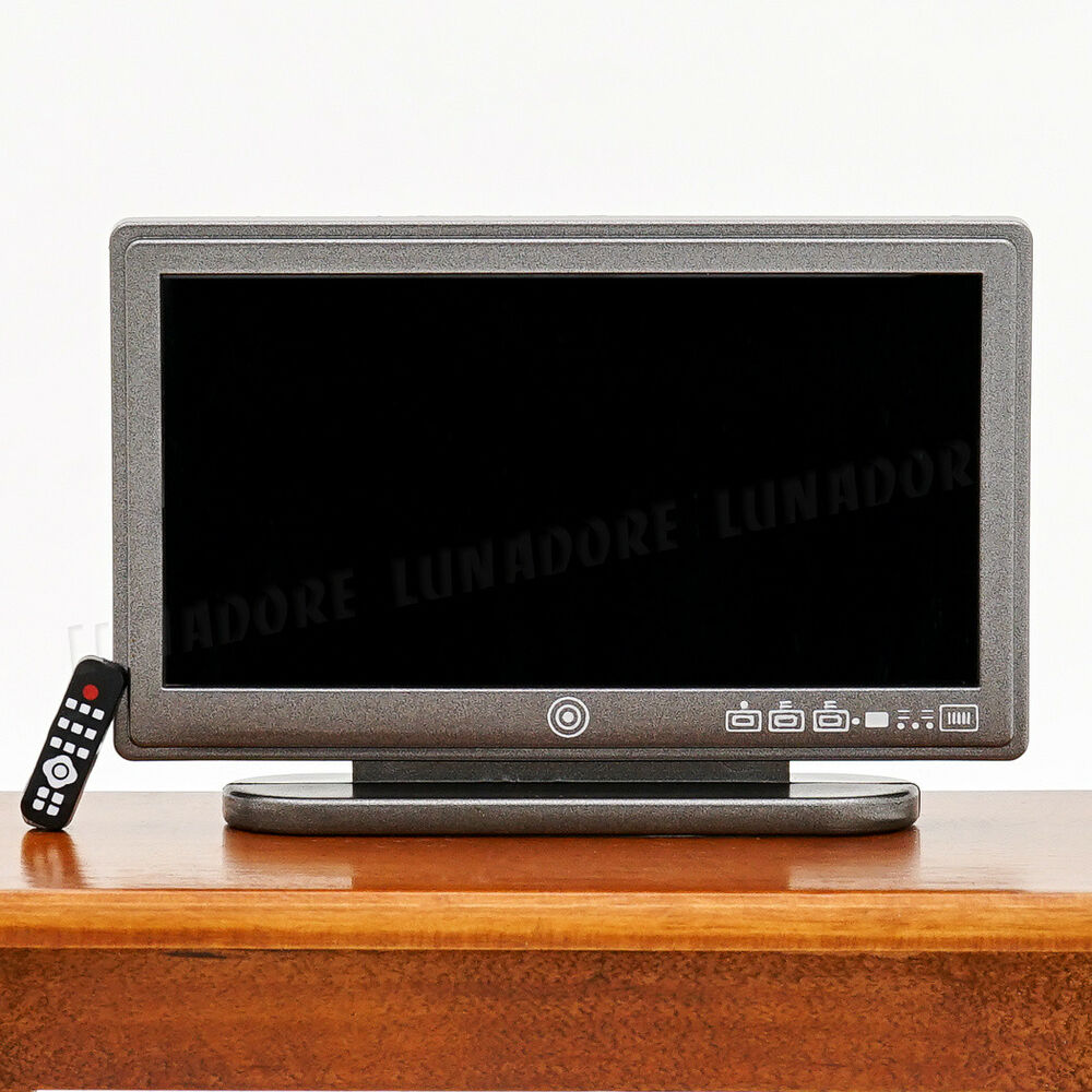 Dollhouse Miniatures Tv: A Black Resin Television TV Wide Screen Miniature Toy Doll
