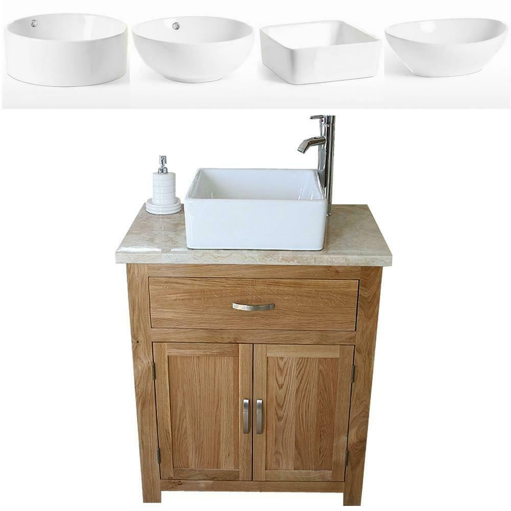 Bathroom vanity unit oak cabinet wash stand travertine for Stand up bathroom cabinet