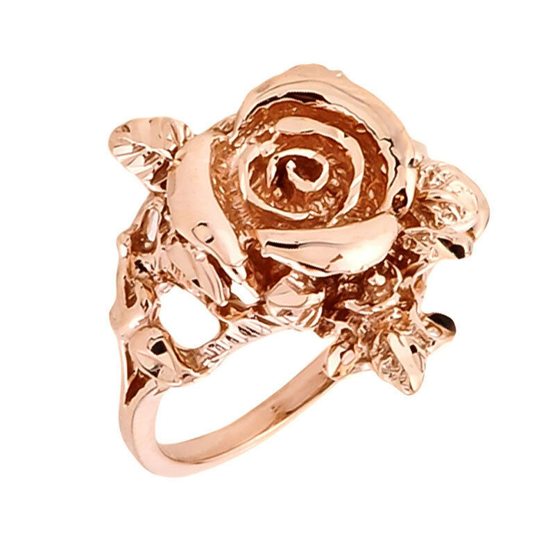 14k Rose Gold Handcrafted Ladies Rose Flower Design 1 9mm
