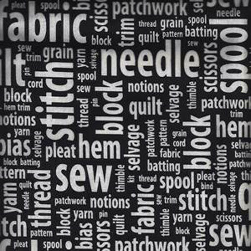 sew amp tell sewing knitting words on black cotton fabric