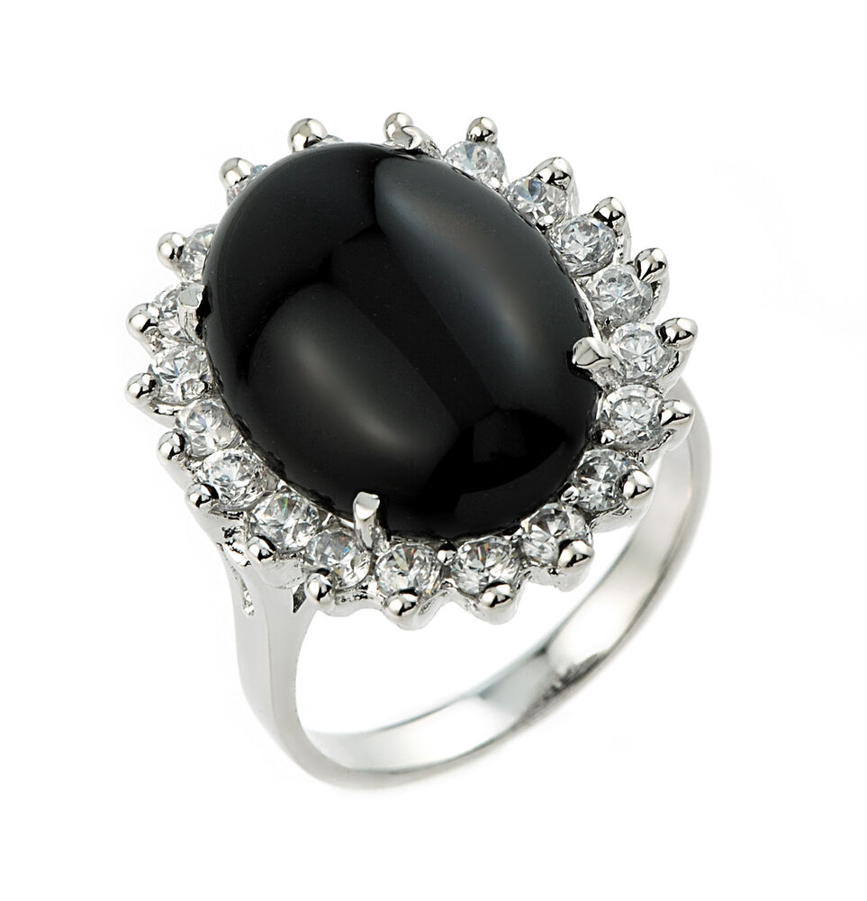 10k White Gold Ladies Black Onyx Ring with 20 Round White ...