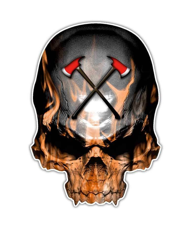Firefighter Skull Decal Fireman Flames Sticker Axe Cross
