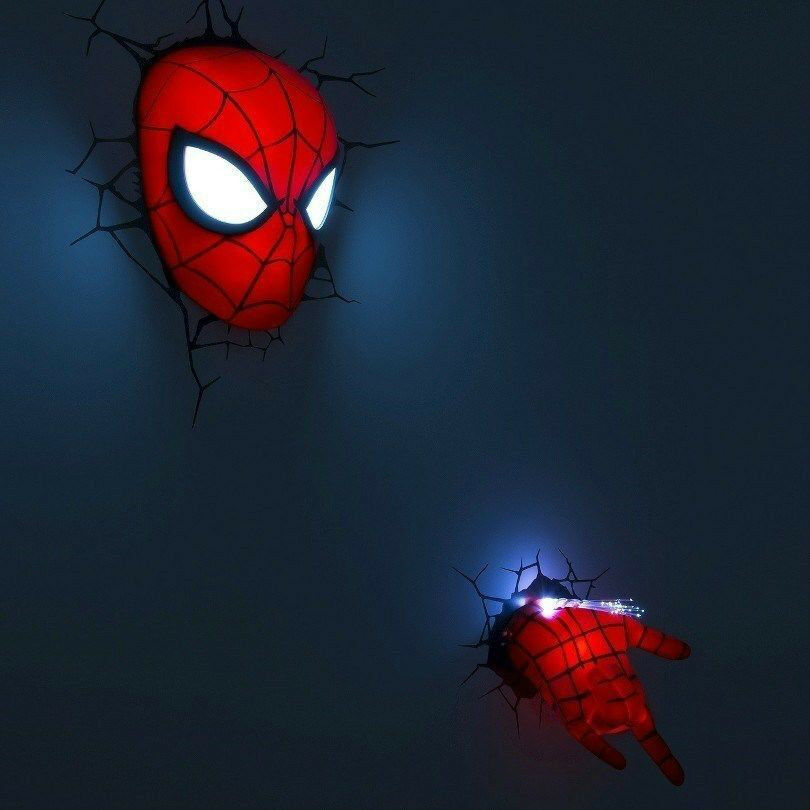 Marvel Wall Lights Spiderman : MARVEL Ultimate SPIDER-MAN Face/Mask & + Hand 3D FX Deco Wall Night Light Set eBay