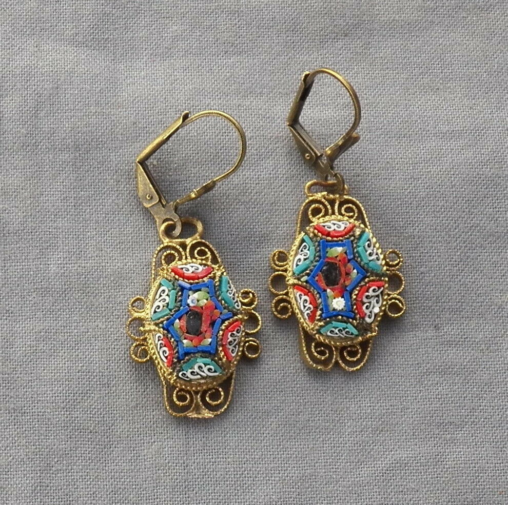 Vintage Drop Dangle Filigree Floral Victorian Style Micro Mosaic Earrings Ebay