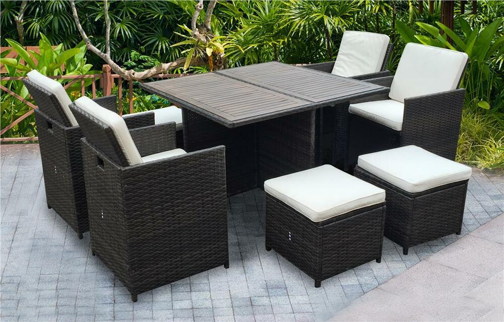 rattan wicker garden outdoor cube table and chairs furniture patio seater set ebay. Black Bedroom Furniture Sets. Home Design Ideas