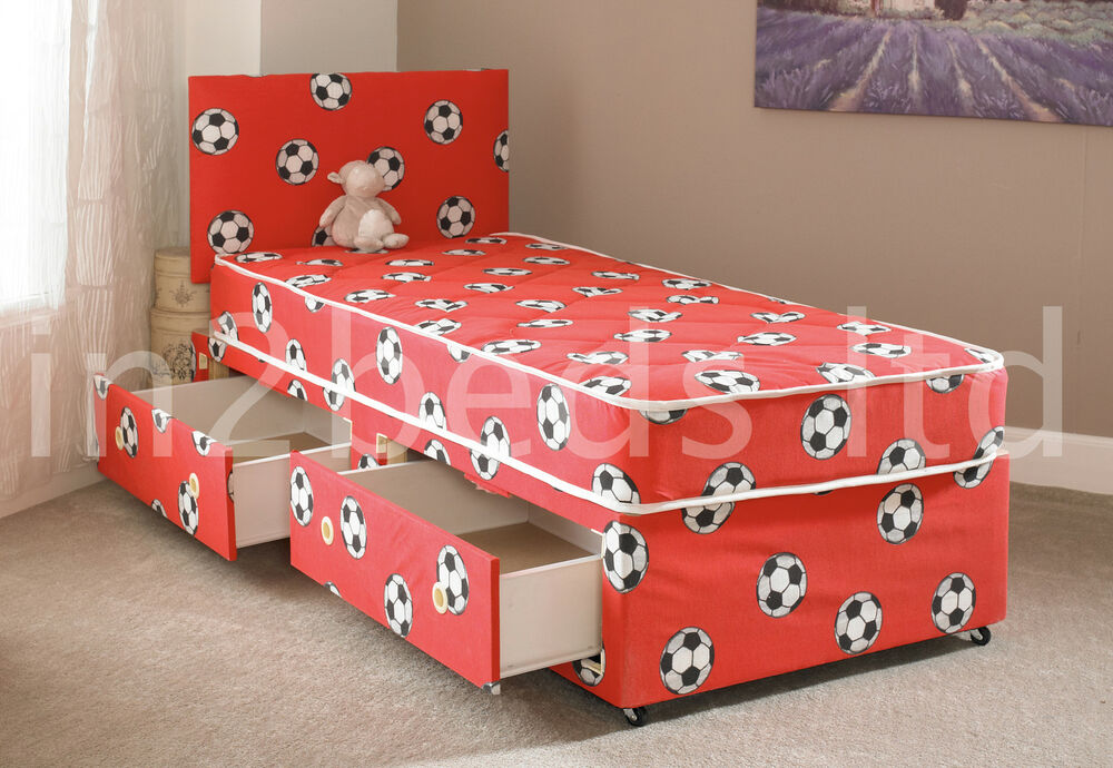 2ft6 single boys red football divan bed mattress free for Divan bed with storage and headboard