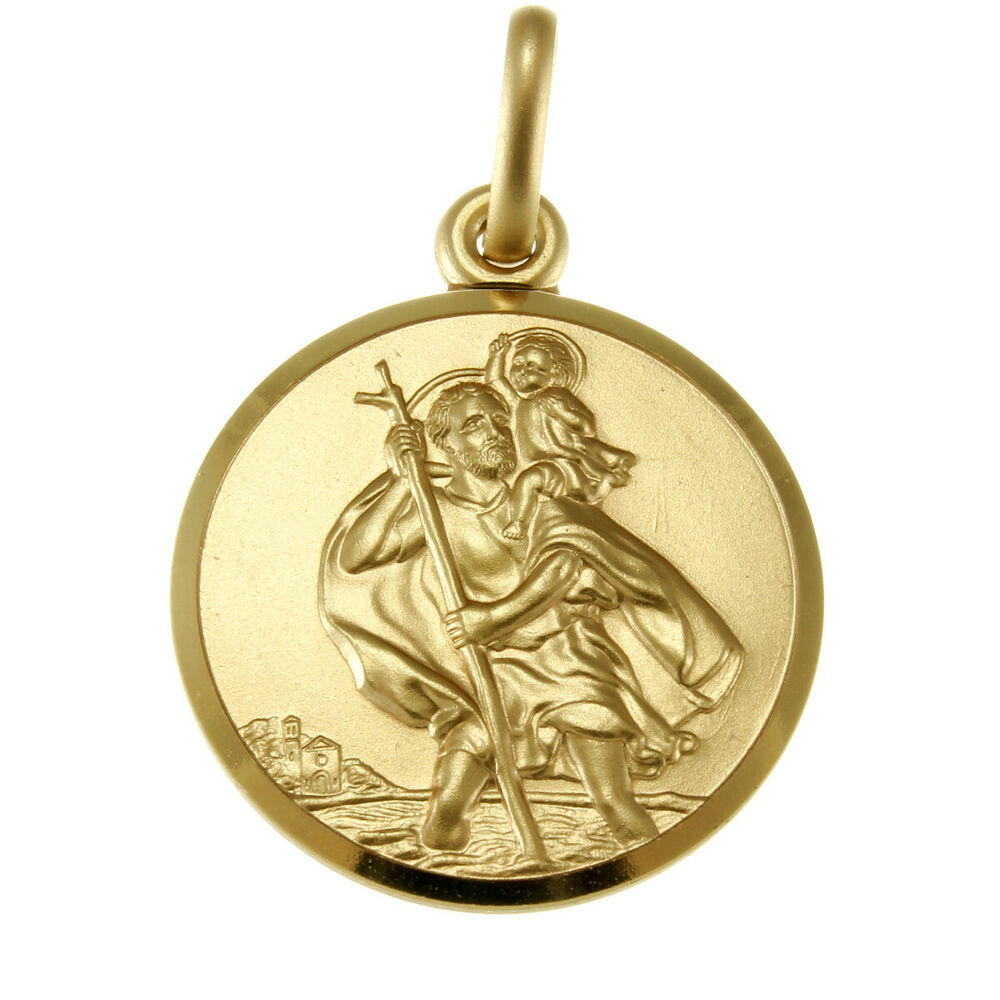 9ct gold st saint christopher pendant chain necklace with. Black Bedroom Furniture Sets. Home Design Ideas