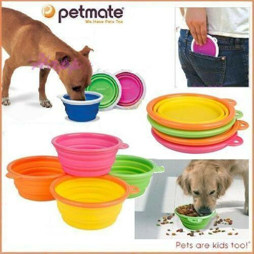 Portable Dog Pet Travel Collapsible Food Water Bowls Pets: Portable Travel Folding Retractable Silicone Pet Dog Cat