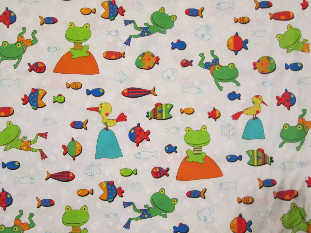 Gone Fishing Frogs Fish Birds Kids Fabric White Cotton