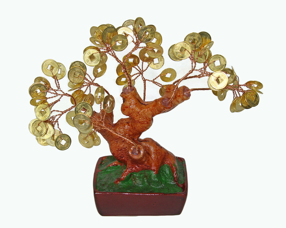 chinese feng shui bonsai gold coin money tree 6 lucky wealth abundance ebay. Black Bedroom Furniture Sets. Home Design Ideas