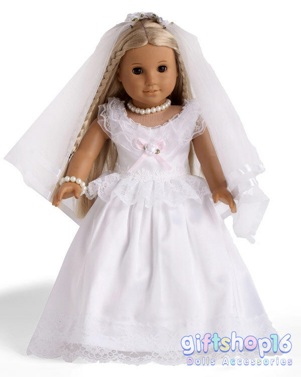 Doll clothes first communion wedding dress made for 18 for American girl wedding dress