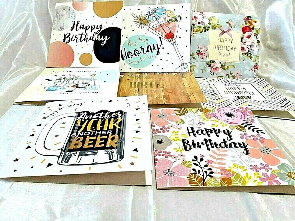 Details About PACK OF 8 MIXED ASSORTED LADIES AND MENS BIRTHDAY CARDS WITH ENVELOPES