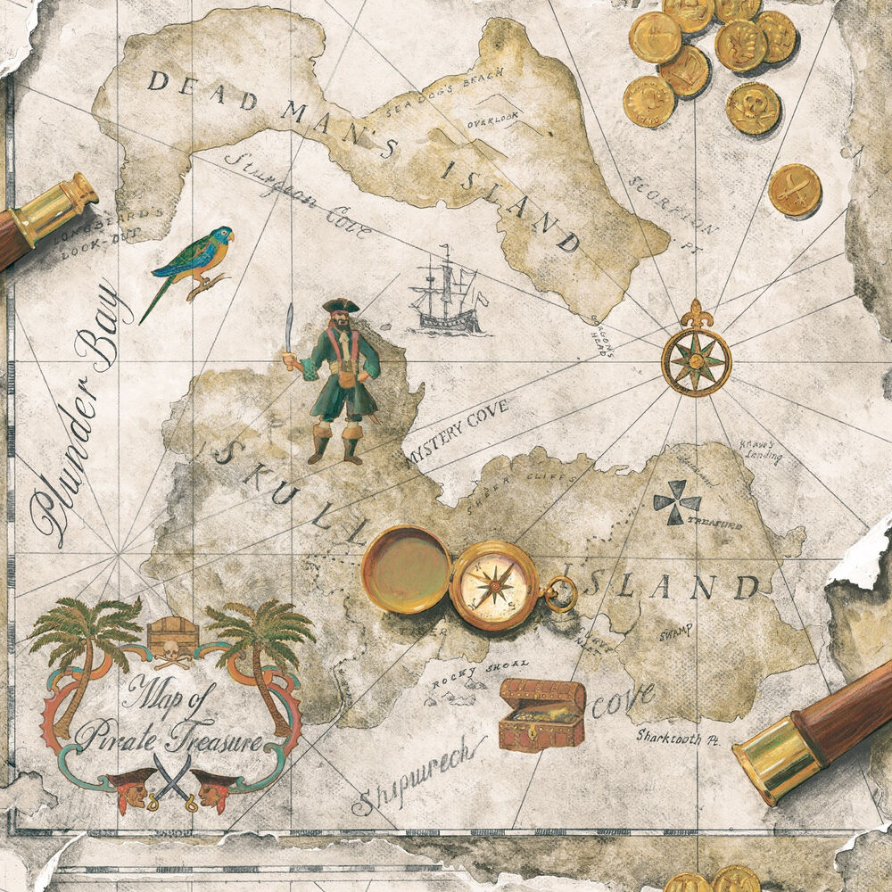 Pirate Treasure Map Rug: Boys Pirate / Pirates Treasure Chest Map On Taupe And