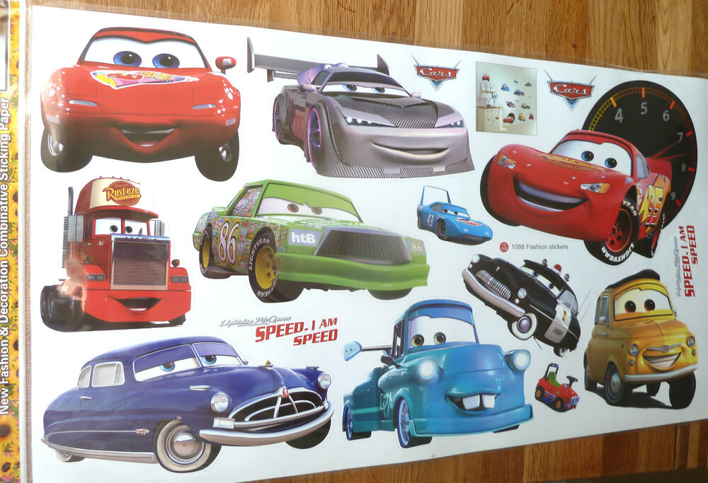 Large disney cars lightning mcqueen wall sticker decal for Disney cars large wall mural