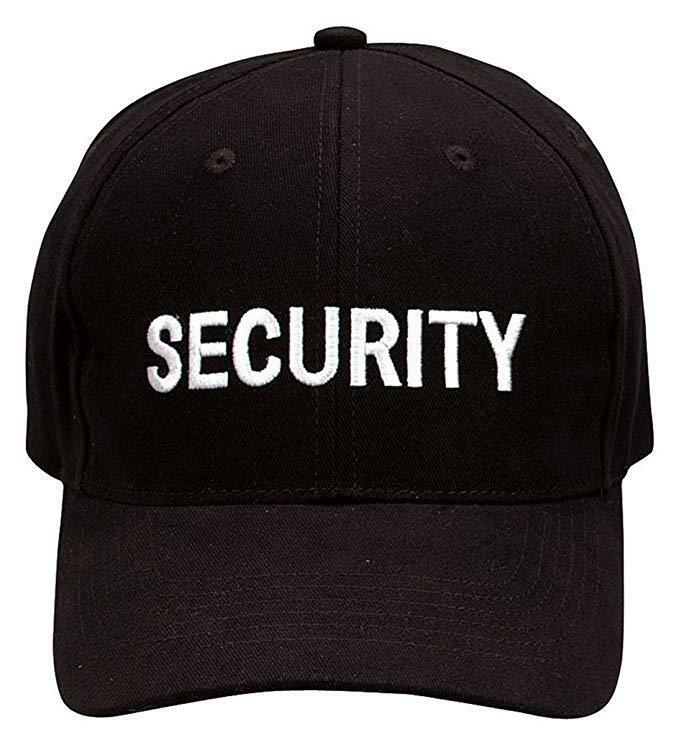 Security guard officer cap hat embroidered black  f97ddb5ae50
