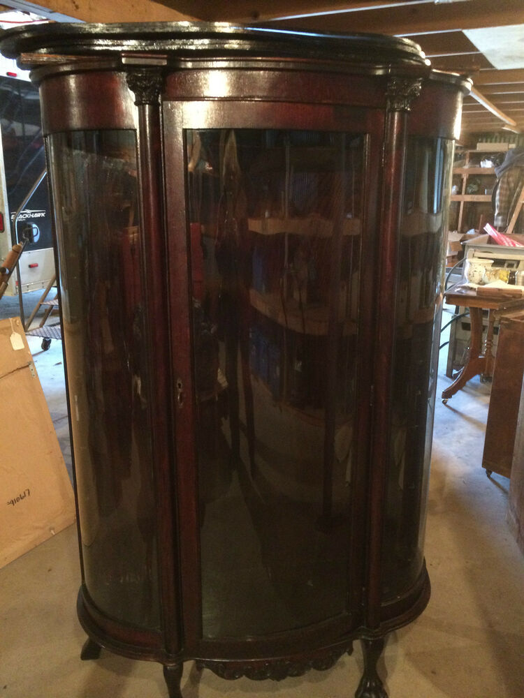 Antique Solid Oak China Cabinet Curved Glass Quality