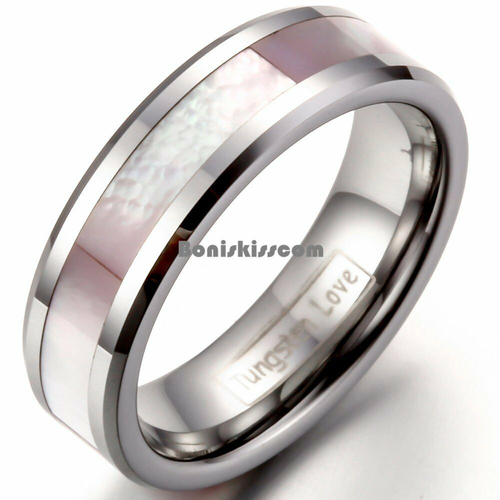 Pink And Black Tungsten Ring: Pink Shell Inlay Tungsten Carbide Ring Womens Lady Girls