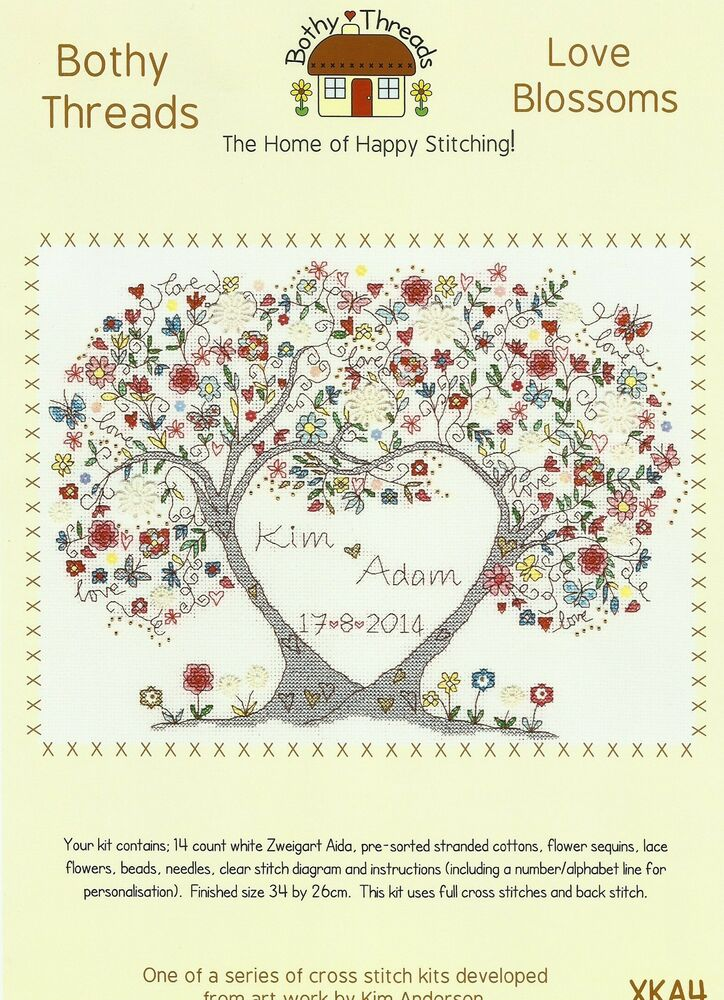 BOTHY THREADS LOVE BLOSSOMS WEDDING SAMPLER COUNTED CROSS
