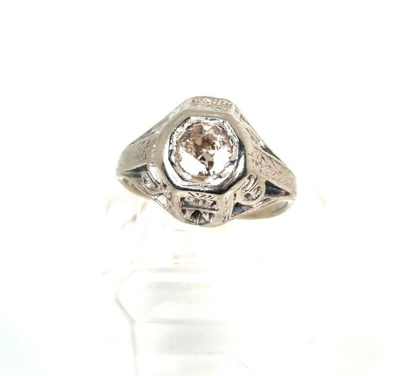 antique deco 52 ct tw 14kt white gold ring