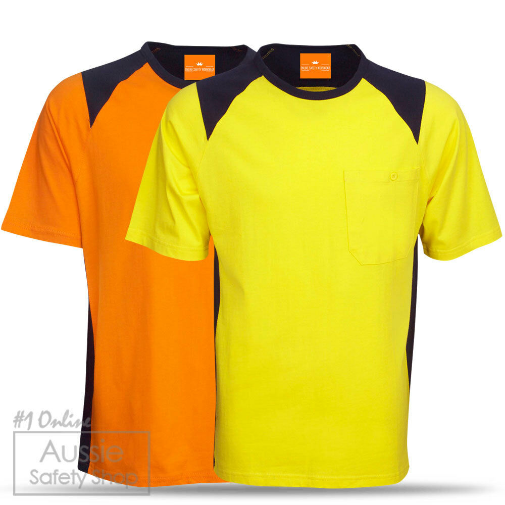 5 X Hi Vis Unisex Soft Feel Combed Cotton Safety Day T