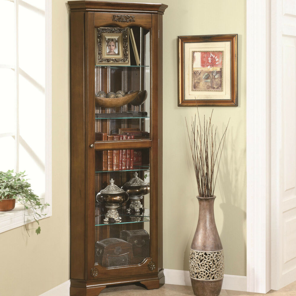 Compact traditional corner curio cabinet furniture ebay for Corner cabinet