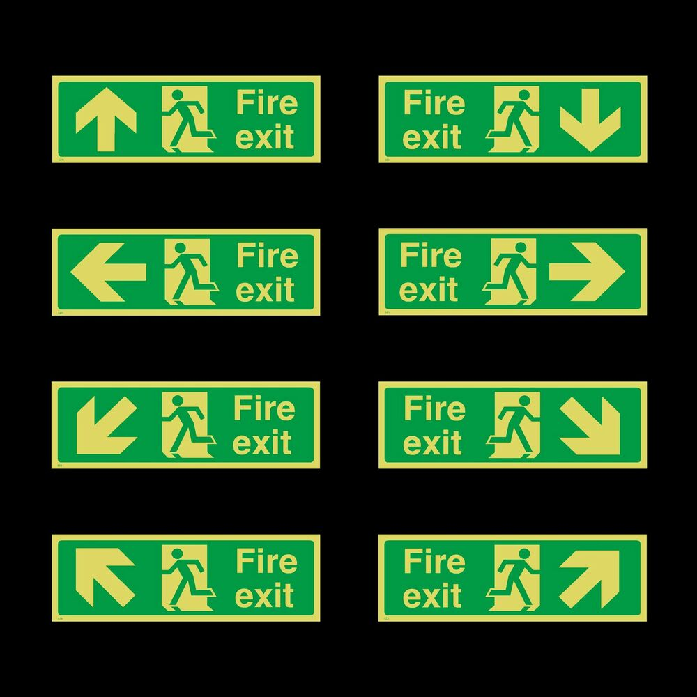 photoluminescent fire exit sign 300x100mm plastic. Black Bedroom Furniture Sets. Home Design Ideas