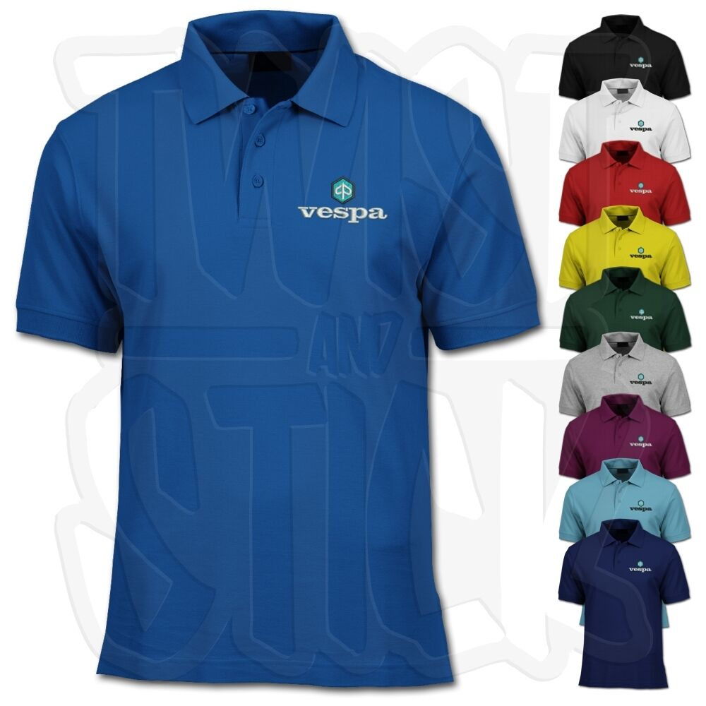 Vespa scooter polo shirt 80 39 s retro embroidered logo for Cheap custom embroidered polo shirts