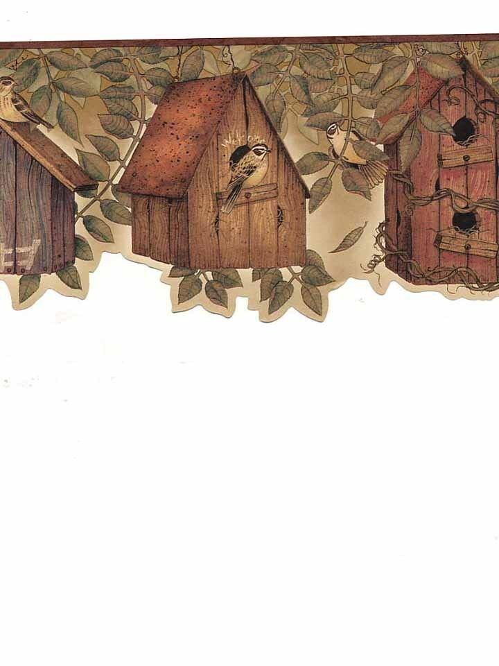 Country kitchen birdhouse with brownish burgandy edge for Country wallpaper borders