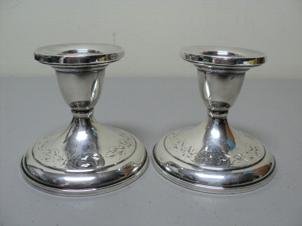 Beautiful Pair Vintage Sterling Silver 3 Quot Candlesticks
