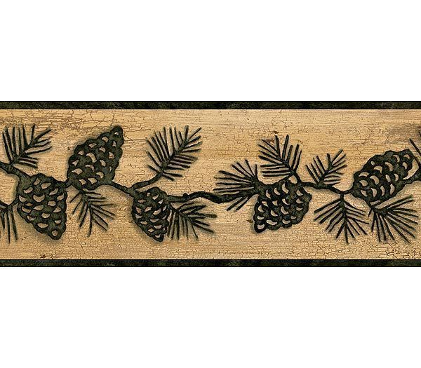 Dark Green Pine Cone on Beige Crackle Wallpaper Border TC48092B | eBay