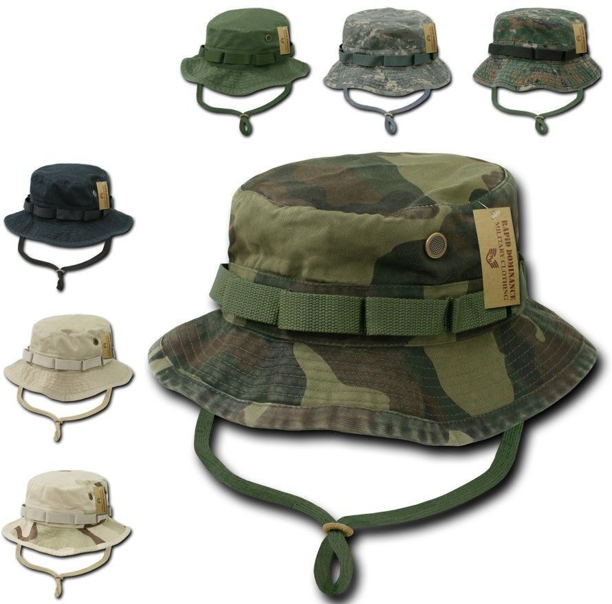 872b23925bc4c Woodland Camo Military Boonie Hunting Army Fishing Bucket Hat Rapid  Dominance