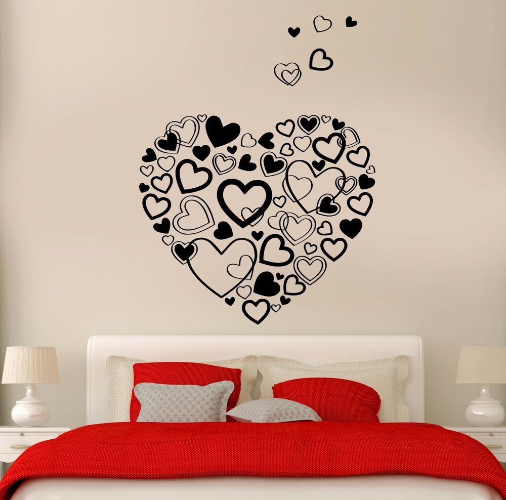 Wall stickers vinyl hearts romantic decor i love you for for Home decor 2 love