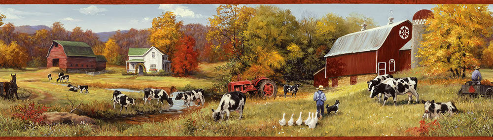 down on the farm with cows easy walls wallpaper border