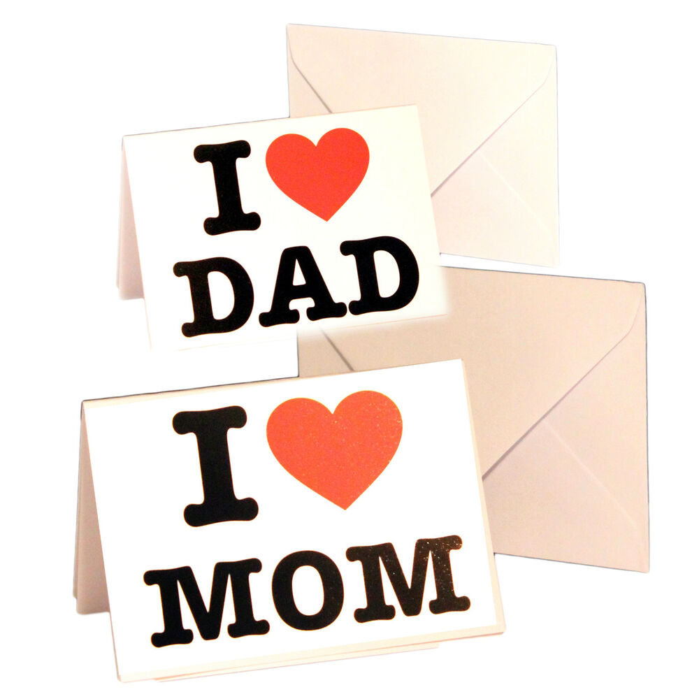 Klappkarte Postkarte I Love MOM und I Love DAD Muttertag Vatertag ...