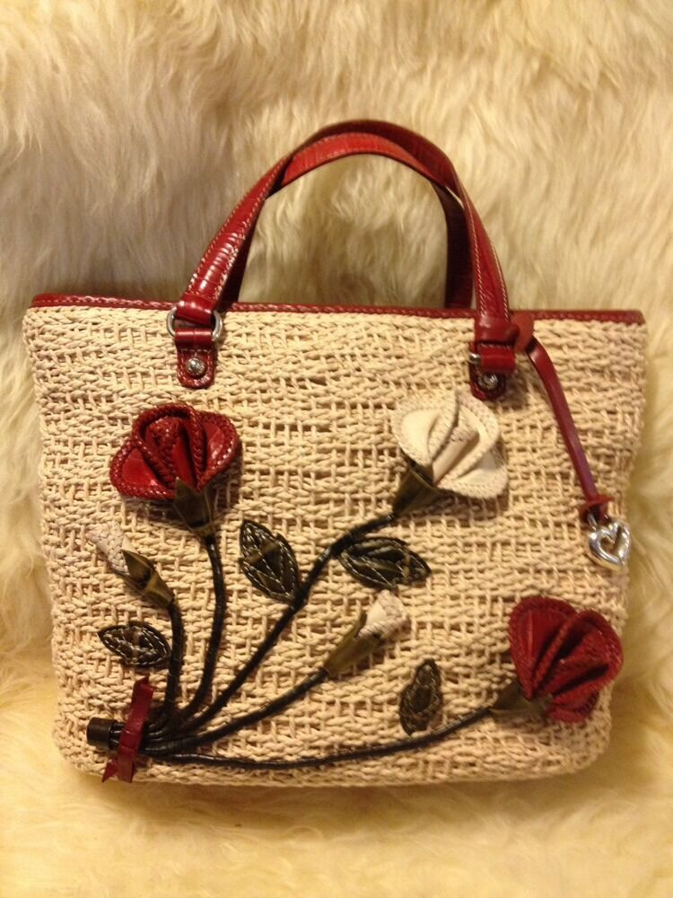 Brighton Patricia Leather Flower Floral Straw Tote Handbag Purse Amp Wallet Set Ebay