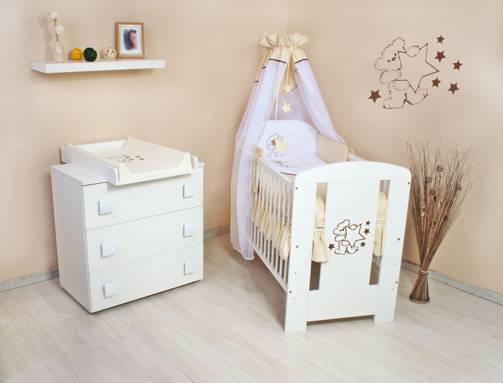 teddyb r komplett set wickelkommode babybett babyzimmer voll ausstattung h221 ebay. Black Bedroom Furniture Sets. Home Design Ideas