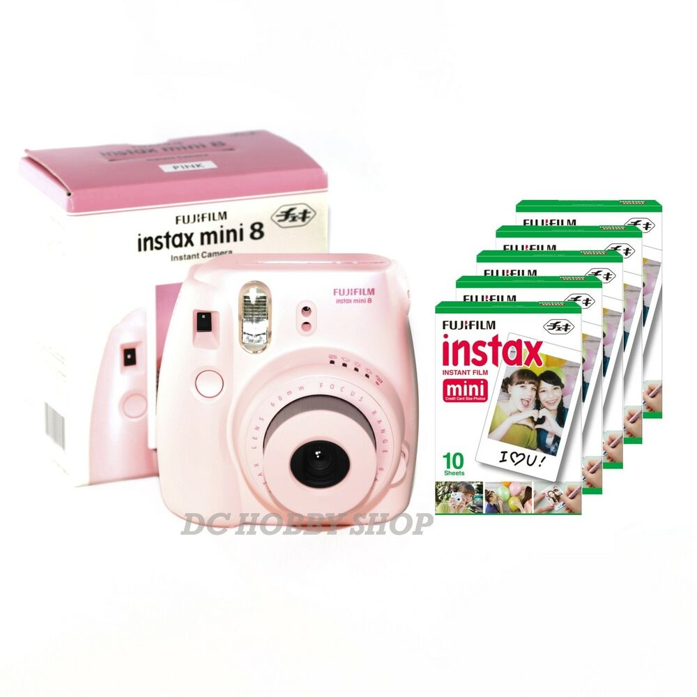 fuji instax mini 8 pink fujifilm instant camera 50 film ebay. Black Bedroom Furniture Sets. Home Design Ideas