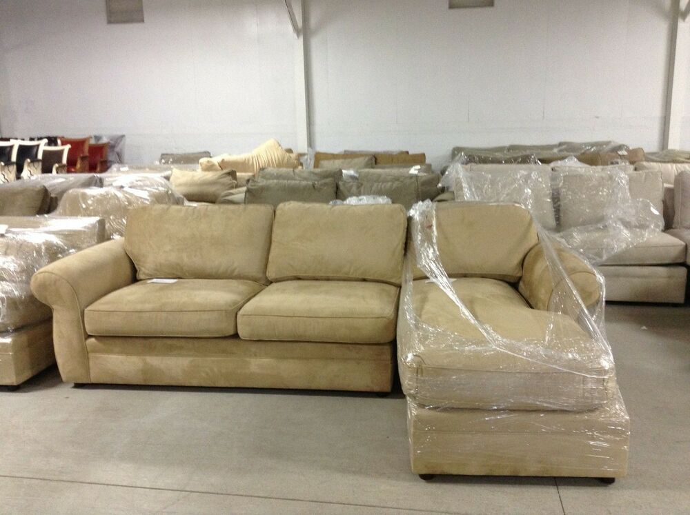 pottery barn pearce couch sofa sectional wheat suede