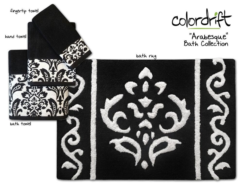 New Arabesque Bath Collection Assorted Towels Rugs Black White Damask Ebay