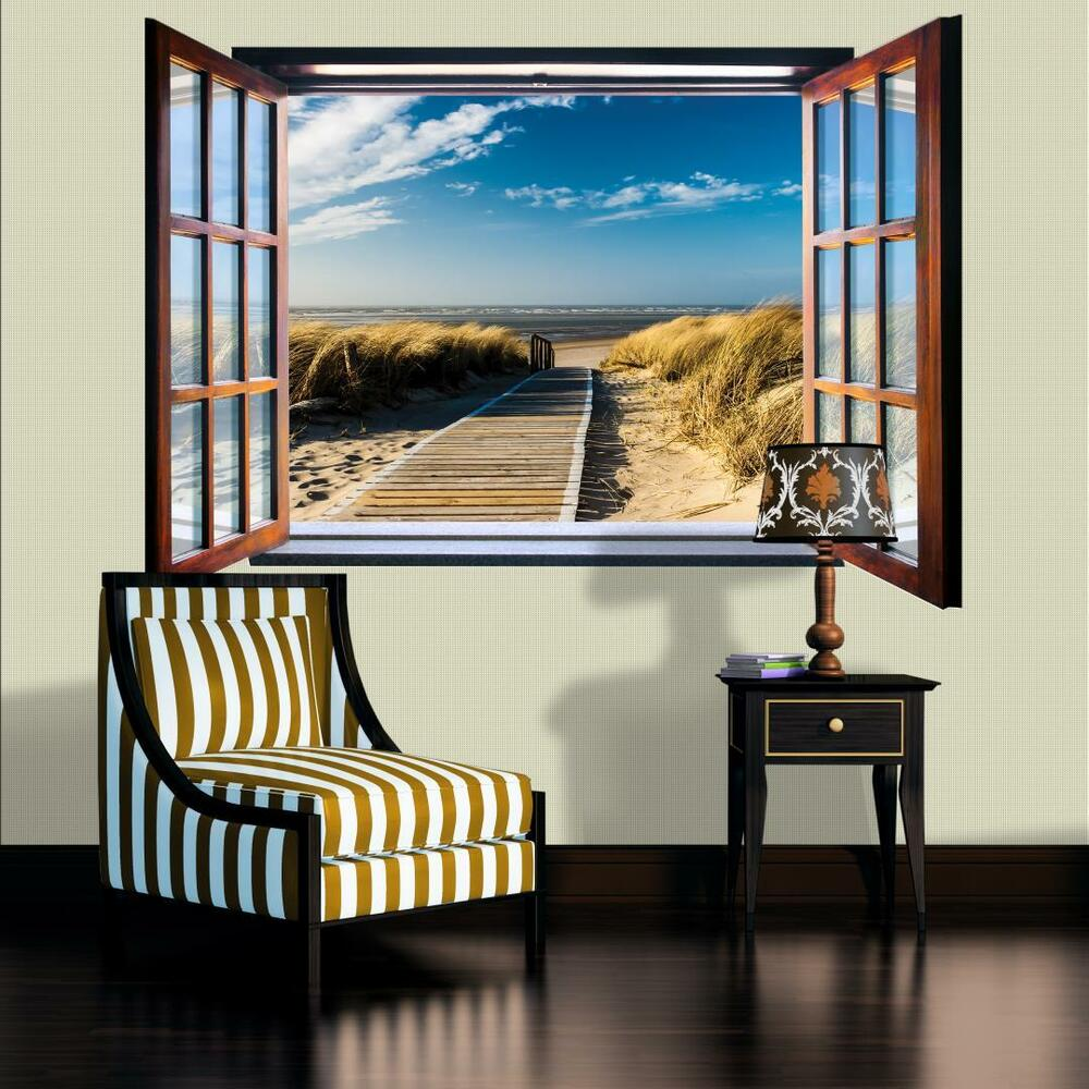 vlies fototapete tapete fototapeten tapeten ostsee nordsee im fenster 1054ve z4 ebay. Black Bedroom Furniture Sets. Home Design Ideas