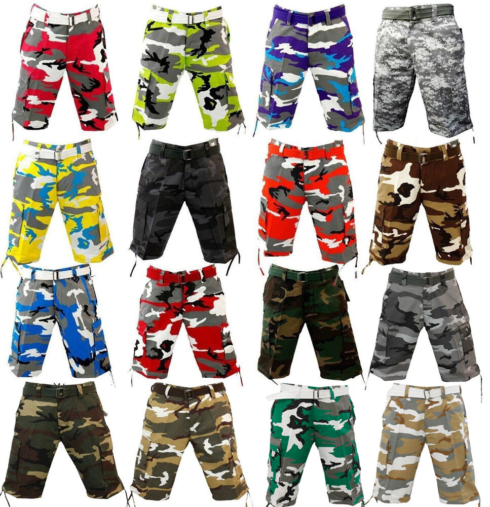 NWT MEN REGAL WEAR MANY DIFFERENT COLORS OF CAMO CARGO SHORTS WITH ...