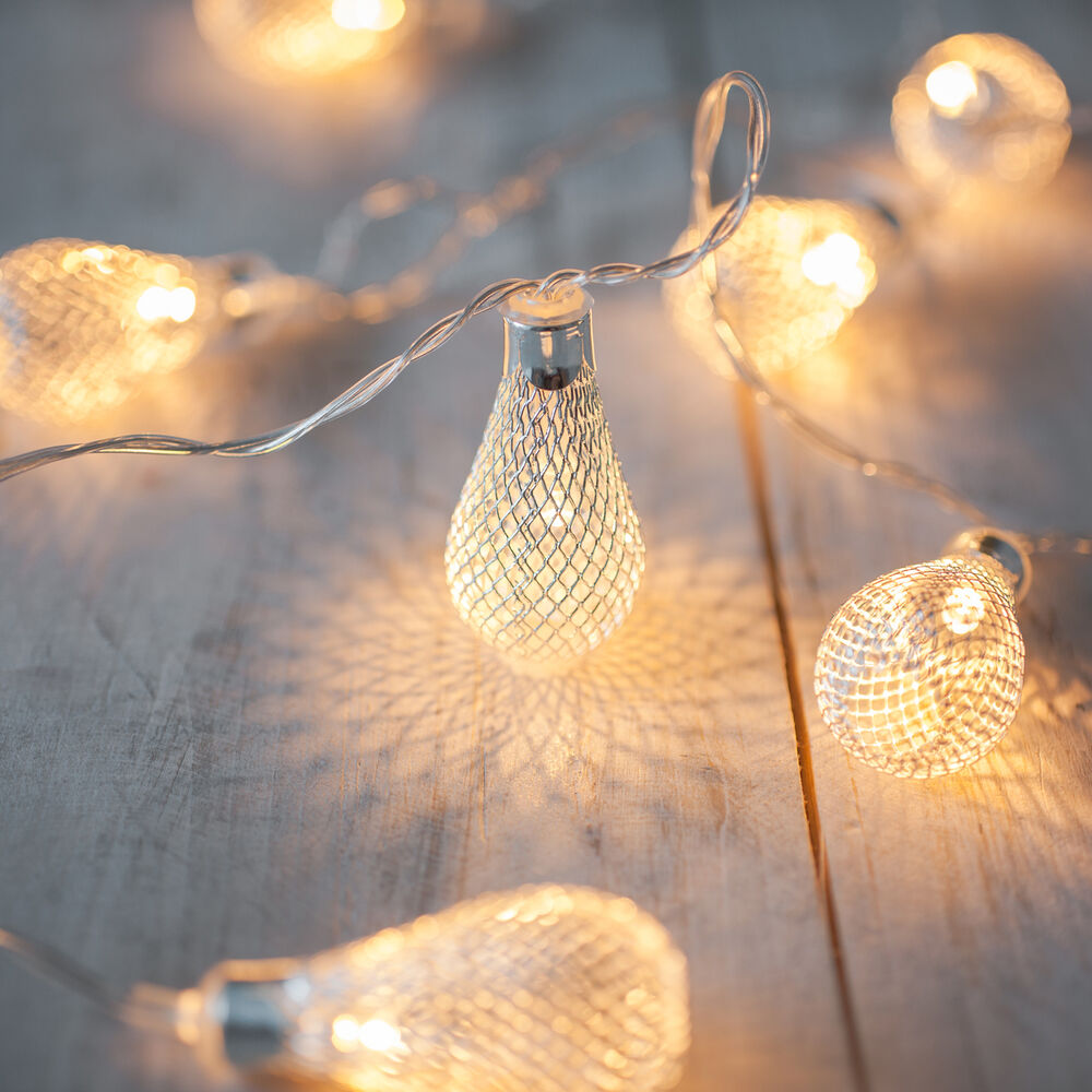Battery Operated Led String Lights Warm White : 10 Warm White LED Silver Mesh Teardrop Battery Operated Fairy String Lights eBay